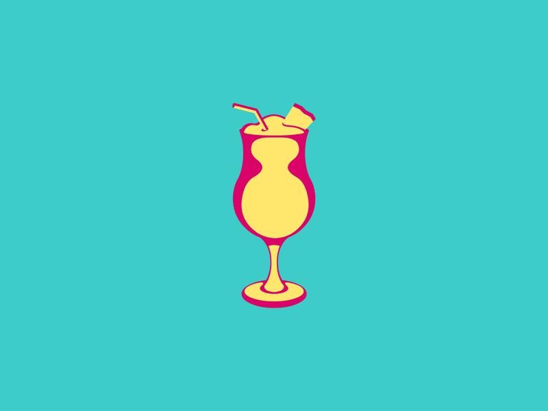 Piña Colada logo concept logoideas logofolio logomaker logodesigner logoconcept logo logoconceptday magenta aquamarine yellow cocktail rum coconut pineapple pinacoladaday pinacolada