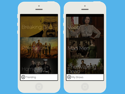 TV App Concept (1 of 2) ios mobile mobile app design tv images thin type