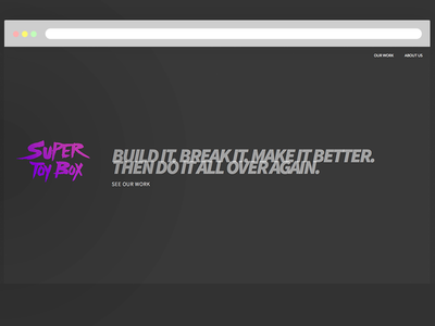 "Super Toy Box ""Bam"" Home website dark purple simple"