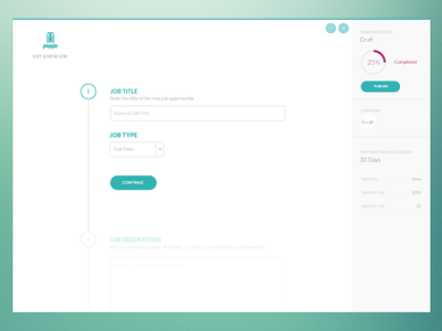 Piqqle Preview green ui clean simple interface user interface jobs