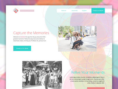 Landing Page landing page website purples red green pictures colors circles