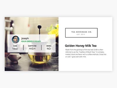 Order Widget beverage white widget tea card