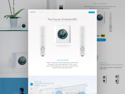 AmpliFi: Home wi-fi ubiquiti super toy box wireless router marketing page product amplifi blue white
