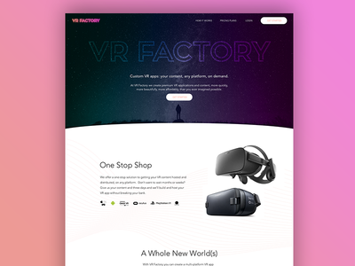 VR Factory 360 landing page virtual reality purple pink vr