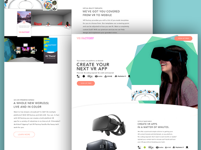 VR Factory: Page Update green blue landing page 360 vr