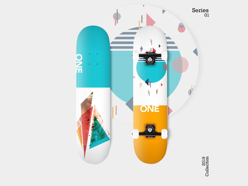 Skateboard: Skate Decks - Series 01 skateboard deck geometry blue orange skateboard