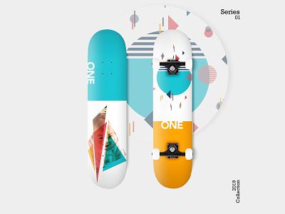 Skateboard: Skate Decks - Series 01 skateboard deck geometry blue orange skateboard