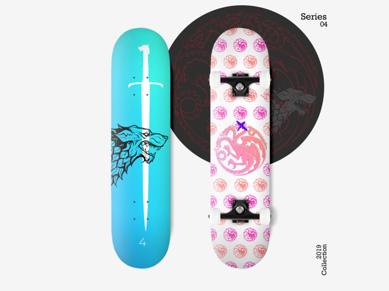 Skateboard: Skate Decks - Series 04 skateboard skateboard design skateboard deck red black game of thrones final season dire wolf sword dragon pink blue