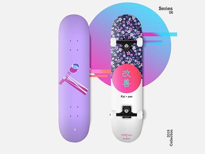 Skateboard: Skate Decks - Series 06 purple gradient gradient skateboard deck skateboard design skateboard pink flowers chopsticks kaizen blue purple