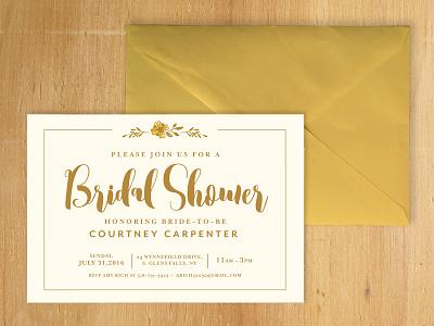 Bridal Shower Invite wedding floral card elegant gold design invitation