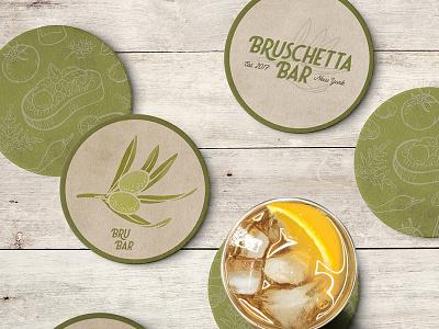 Bruschetta Branding restaurant branding bar coasters green olive typography etching illustrations logo branding bruschetta