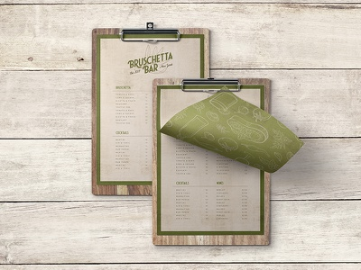 Bruschetta Menu restaurant branding bar green olive typography etching illustrations logo menu branding bruschetta
