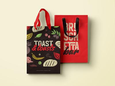Bruschetta Bar Bags restaurant branding pattern graphic vector flat typography illustrations logo menu branding bruschetta