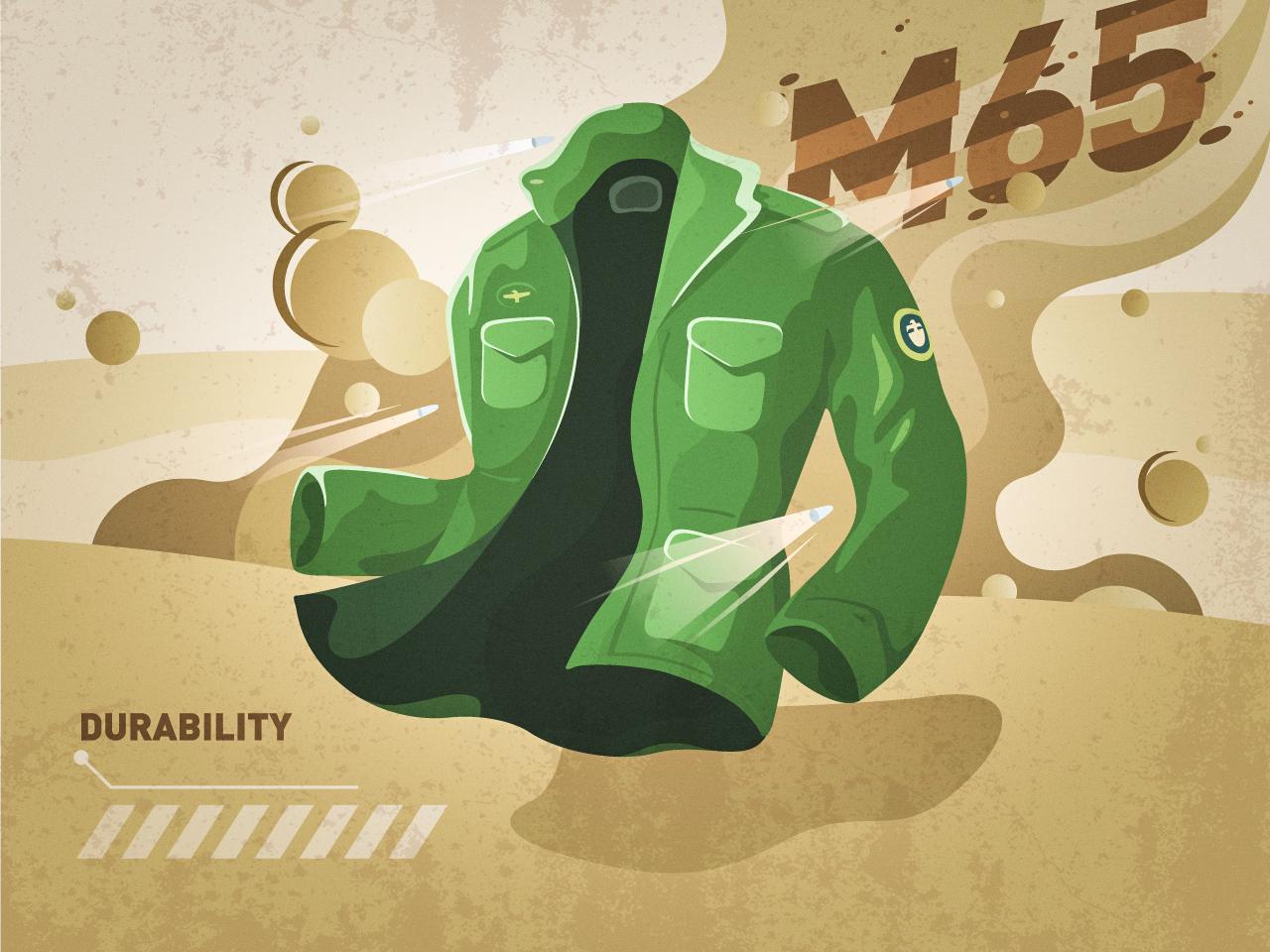 M65 JACKET !!! smog bullet desert m65 jacket clothes player flat illustration
