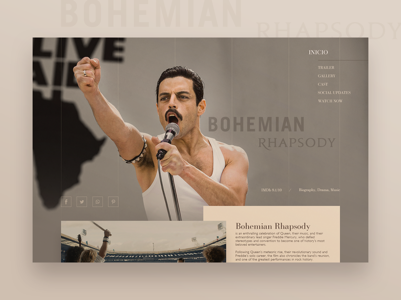 Bohemian Rhapsody website design by NIKI_Kowalski on Dribbble