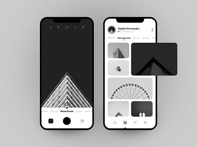 Concept camera app blackandwhite monochrome black app mobile design concept colors minimal ui