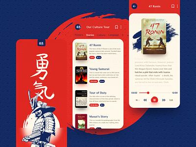 Japanese- Samurai Warriors mobile ui mobile app audio audiobook travel read modern book stories samurai japan blue mobile design concept red colors ui