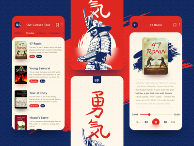 Japanese- Samurai Warriors mobile ui mobile app audio audiobook travel read modern book stories samurai japan blue mobile design concept red colors ui