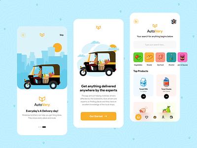 AutoVery- Auto Rickshaw Delivery App buy fruits vegetables food help service app design covid19 lockdown product idea rickshaw auto app ux mobile logo minimal design ui concept