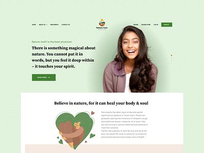 Nature Cure- Naturopathy healing website covid19 corona covid medical health branding animation logo website minimal design colors web concept ui
