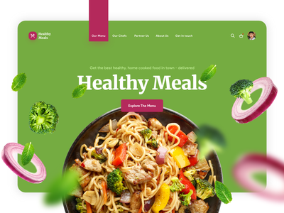 Healthy Meals- Healthy food delivery app covid19 pandamic health meals delivery food healthy green maroon ux app red website design colors web concept ui