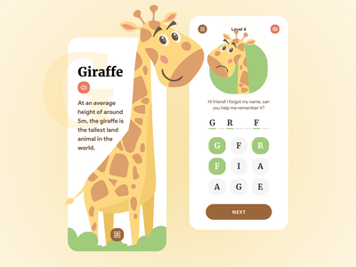 Kids App- Learn alphabets, words, & animal facts children kids education learning mobile ui mobile app minimal design colors concept ui