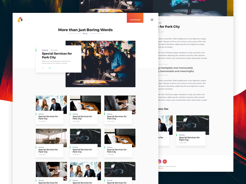 Corporate Blog shadow concept minimal web ui blog