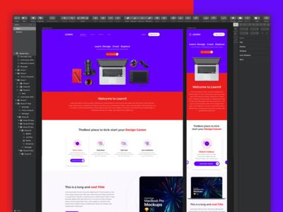 WIP screens for an online learning platform for Designers violet red blue colors bright clean responsive mobile website education elearning photoshop sketch logo designer design learn