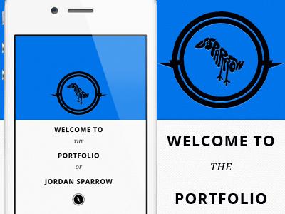 Portfolio Screen icons logo center typography web mobile splash open lightning blue portfolio site jordan sparrow design