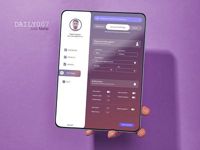 DAILYUI007 settingdesign settings design app uiux ui uidesign figma dailyui
