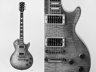 Gibson Les Paul Guitar Pen On Paper Drawing 90x149cm More Photos Of The Project Behance Gallery 27650501 Rock Ink