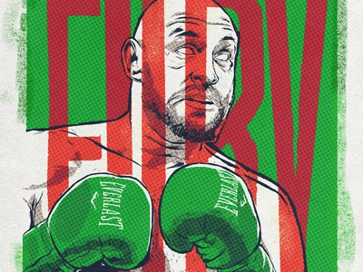 Editorial Illustration Tyson Fury Portrait espn tyson heavyweight champion comic illustration popart halftone boxer illustration editorial sports illustration sports illustration sports illustrated boxer boxing illustrated tysonfury freelancer vexel letterer illustration lettering typography