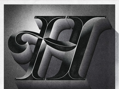 "Letter H for ""Herb Lubalin"" - 36 Days of type typographicart typographicartist newspaper type 60s noir typography noir illustration noir graphicdesign graphicdesigncentral herb lubalin freelancer letters vexel goodtype handlettering letterer illustration lettering type typography"