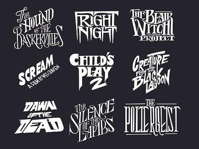 Horror movies typographic series halloween typography type designer designer goodtype handtype movie title logotype cinema classic movies halloween 80s horror letterer letters handlettering hand crafted type typography type