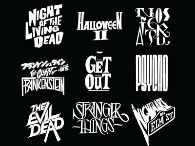 Halloween Horror Film Titles/ Typographic Logotypes cinema film titles inktober halloween illustrated typography pop culture frankenstein get out elm street strangerthings psycho letterer hand made typography handlettering horror movies film title design film title logotype logos
