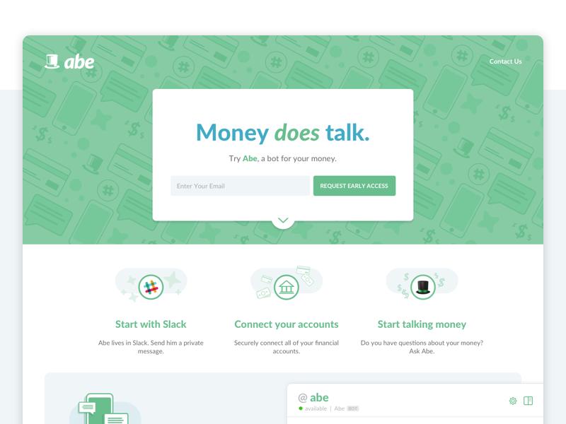 Abe Marketing Page illustration icons flat design ux ui marketing landing page slackbot bot