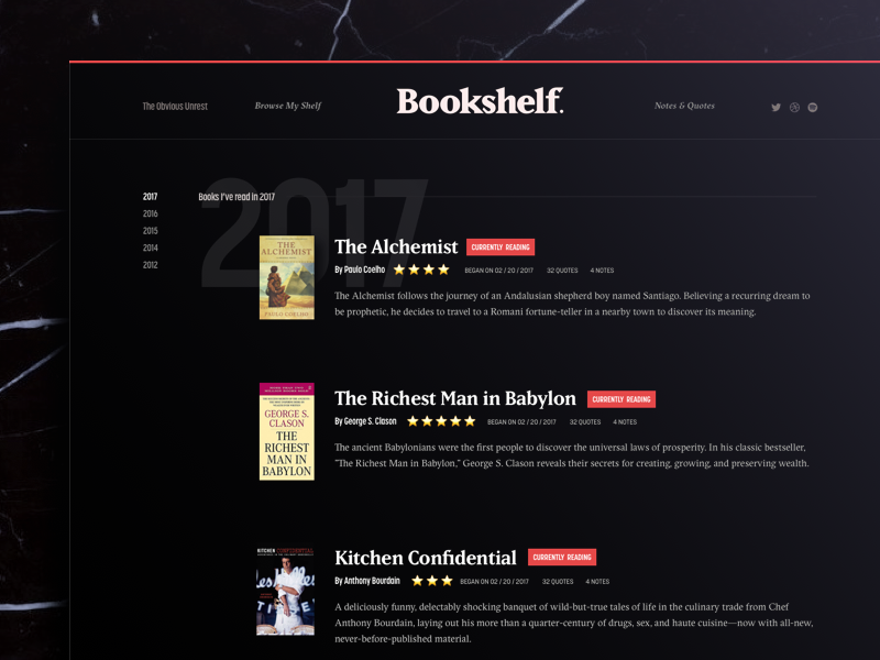 Bookshelf Archive —WIP library ui black dark blog cms web design reading books