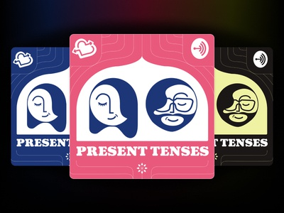 Present Tenses Podcast Cover Art fun design illustration podcast art podcast cover podcast logo