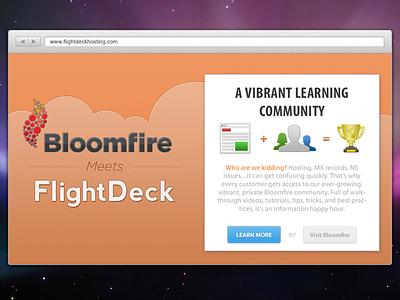 Bloomfire + FlightDeck bloomfire flightdeck design ui clouds orange website