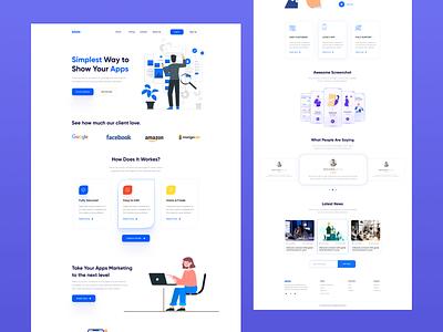Saas App Landing Page Design. saas app landing page branding logo ui illustration app design typography homepage first shot design clean design