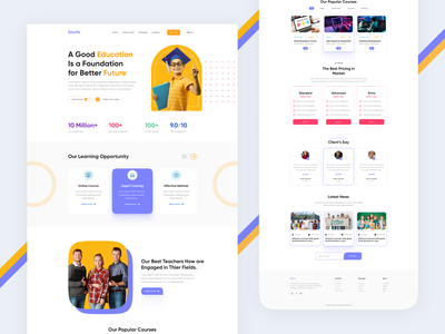 Educational Website Design. typography first shot clean design website landing page hompage web design mockup website design illustration learing platfrom school education baby early learning kids activities courese play online class ui