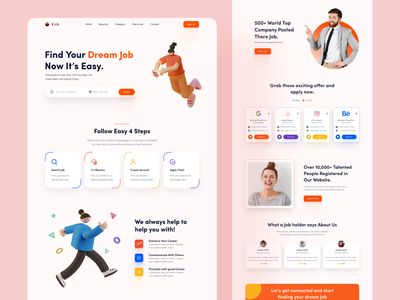 Job Finder Landing Page. ui web ux design interface clean platfrom job search landing employer job application recuitment job listing minimal job finder website marketing job portal hiring