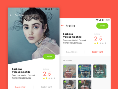 Talent profile talent apps profile ui design design ux ui