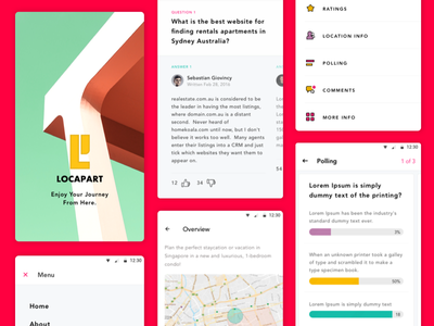 Locapart - More Details splash screen map navigation menu faq answer question app ui ux design profile