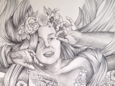 """Jolie Française // 05 —""""Mimo"""" (details 1) girl black and white greyscale drawing pencil illustration"""
