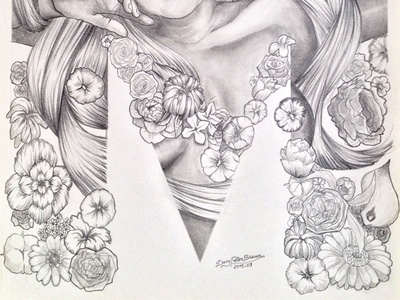 """Jolie Française // 05 — """"Mimo"""" (details 2) greyscale girl back and white pencil illustration"""
