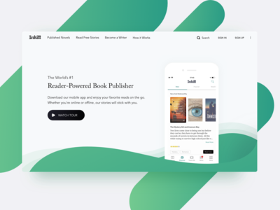 UI/UX Work for Inkitt minimal gradient green app landing web