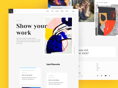 Iconic Show _main page white yelow contrast selling crypto landing page ui icon minimal
