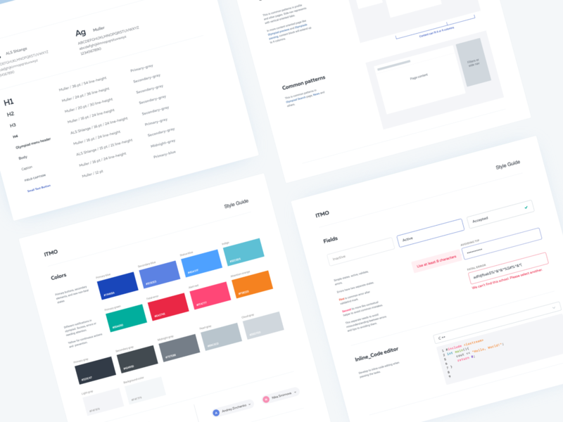 Olymp ITMO Style Guides ui web fields typogaphy colors styleguide