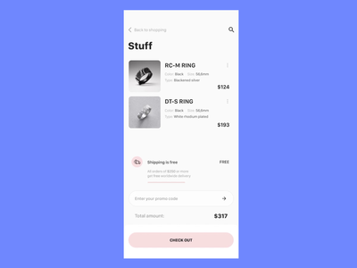 Cart editing animation comercial rings concept shapes ux ui principle jewelry e-commerce shop animation